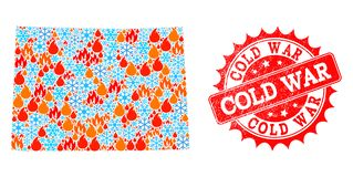 Collage Map of Colorado State of Fire and Snowflakes and Cold War Grunge Stamp royalty free illustration