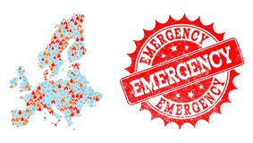 Collage Map of Euro Union of Fire and Snow and Emergency Grunge Seal stock illustration