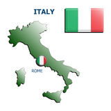 Collage map flag badge italy Stock Images