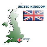 Collage map flag badge uk Royalty Free Stock Images