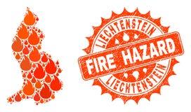 Collage of Map of Liechtenstein Burning and Fire Hazard Grunge Stamp Seal vector illustration