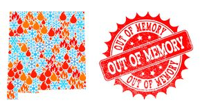 Collage Map of New Mexico State of Flame and Snowflakes and Out of Memory Scratched Stamp royalty free illustration