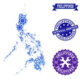 Collage Map of Philippines with Gear Wheels and Grunge Stamps for Services vector illustration