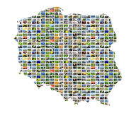 Collage map of poland stock images