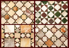 Collage of marble pavements. Marble pavements with four different patterns Stock Photography