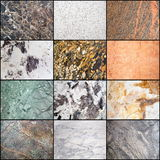 Collage of marble surface Stock Photos