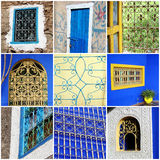Collage marocain de fenêtres Photographie stock libre de droits