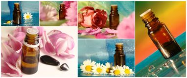 Collage with massage oil Stock Image