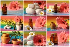 Collage with massage oil Stock Photo