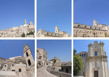 Collage: Matera stones. Different views of rock art of MATERA Royalty Free Stock Photo