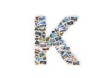 Collage mayúsculo del alfabeto de la forma de la fuente de la letra K Fotos de archivo