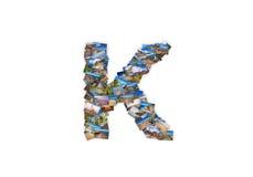 Collage mayúsculo del alfabeto de la forma de la fuente de la letra K Imágenes de archivo libres de regalías