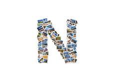 Collage mayúsculo del alfabeto de la forma de la fuente de la letra N Imagenes de archivo