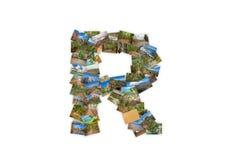Collage mayúsculo del alfabeto de la forma de la fuente de la letra R Fotografía de archivo libre de regalías