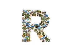 Collage mayúsculo del alfabeto de la forma de la fuente de la letra R Fotografía de archivo