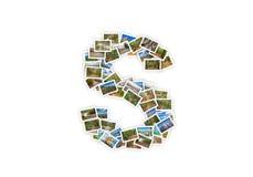 Collage mayúsculo del alfabeto de la forma de la fuente de la letra S Imágenes de archivo libres de regalías