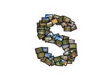 Collage mayúsculo del alfabeto de la forma de la fuente de la letra S Fotos de archivo