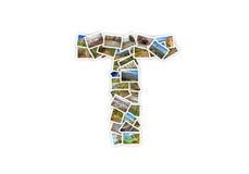 Collage mayúsculo del alfabeto de la forma de la fuente de la letra T Fotos de archivo