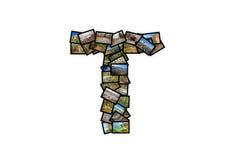 Collage mayúsculo del alfabeto de la forma de la fuente de la letra T Imagen de archivo libre de regalías