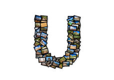 Collage mayúsculo del alfabeto de la forma de la fuente de la letra U Imagen de archivo libre de regalías