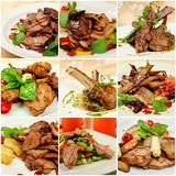 Collage with meat meals Stock Photo
