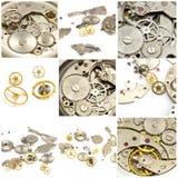 Collage. Meccanismo dell'orologio e dell'orologio Fotografie Stock