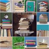 Collage med böcker: arkiv utbildning, vetenskap som läser royaltyfria bilder