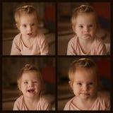 Collage med bilder av sinnesrörelser av lite flickan med Down Syndrome Arkivbilder