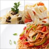 Collage med blandade läckra italienska den isolerade pastacloseupen arkivbild