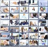 Collage med businesspeoplearbetet tillsammans Fotografering för Bildbyråer