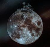 Collage med den enorma roveren på den lilla månen royaltyfri foto