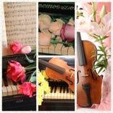 Collage med den gamla fiolen, pianot, anmärkningar och blomman Arkivbild