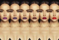 Collage med den härliga kvinnan med färgrik läppstift fotografering för bildbyråer