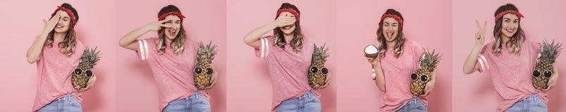 Collage med en ung kvinna med olika sinnesr?relser royaltyfria bilder