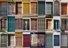 Collage med färgrika rullgardiner från Aten arkivbild