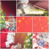 Collage med flera bilder av jul, xmas-tema Royaltyfri Bild