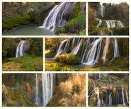Collage med foto av den Marmore nedgången (Cascata delle Marmore) Arkivbild