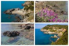 Collage med foto av det Talamone havet i Tuscany royaltyfria bilder