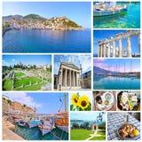 Collage med grekiska foto - semestern förlägger Grekland royaltyfria foton