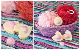 Collage med handgjord jordgubbetvål Royaltyfri Fotografi