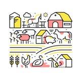 Collage med hemhjälp eller lantgårddjur och husdjur vektor illustrationer
