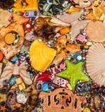 Collage med marin- och estival symboler royaltyfria bilder