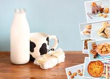 Collage med mjölkar koppen ett smör på trätabellhotos av nytt bakade bakelser och mjölkar och breder smör på på trätabellen Arkivfoto