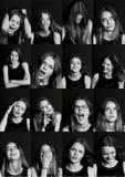 Collage med olika typer av mänsklig sinnesrörelse Mångfalden deras manifestationer fotografering för bildbyråer