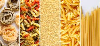 Collage med olika typer av okokt pastatextur Royaltyfri Fotografi