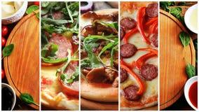 Collage med olika typer av pizza Royaltyfri Bild
