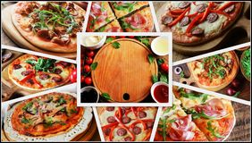 Collage med olika typer av pizza Matingredienser för pizza på trätabellen Top beskådar Royaltyfri Bild