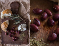 Collage med oliv på en trätabell Fotografering för Bildbyråer