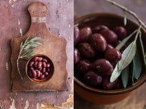 Collage med oliv på en trätabell Royaltyfri Bild