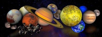 Collage med planeter och månar i yttre rymd stock illustrationer